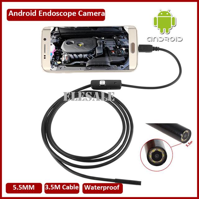 5.5mm 3.5 M Módulo de Câmera Endoscópio Endoscópio Inspeção 6LED USB OTG Android À Prova D' Água Pesca Submarina Para Windows PC