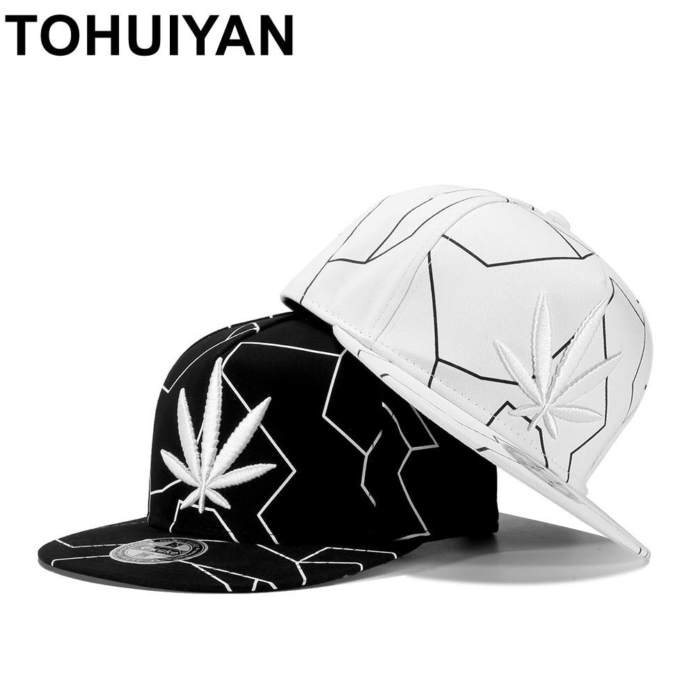 TOHUIYAN Hempleaf bordado del casquillo del Snapback del plano visera  sombrero de béisbol de la calle baile Hip Hop gorras de las mujeres de los  hombres de ... e221924b014