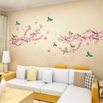 1 pc Sakura Wall Stickers Kids Rooms Bedroom Living Room DIY Art PVC Beautiful Flower Tree Removable Wallpaper home decor New removable diy home decor christmas tree wall stickers