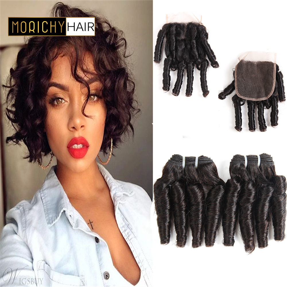 Morichy Hair Curly Bundles With Closure Aunty Funmi Remy Human Hair 3/4 Bundles With Closure Brazilian Hair Weave Bundles