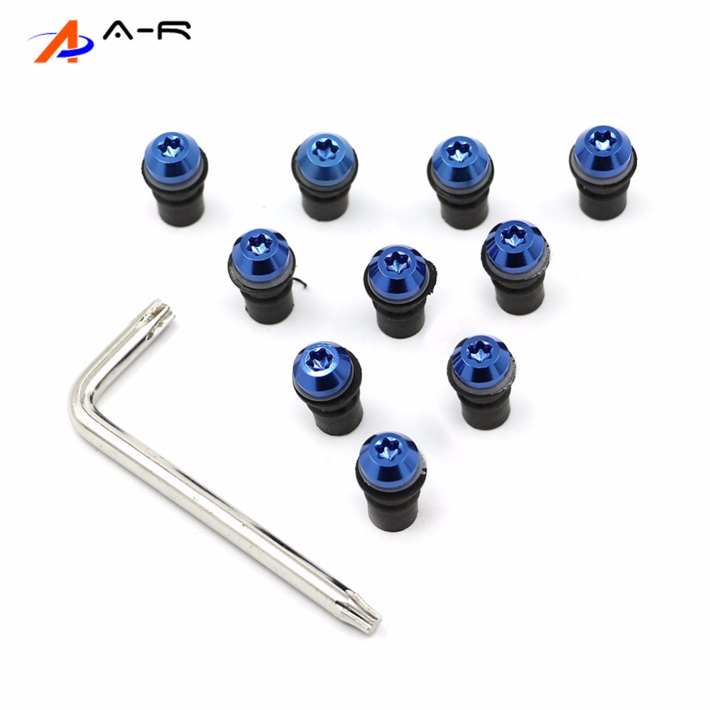 Blue Motorcycle Windscreen Windshield Well-Nuts Washers Fairing Mounting Bolts Kit for 1999 Yamaha YZF R1