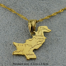 Gold Color Pakistan Map Pendant Necklaces for Women Girls Je