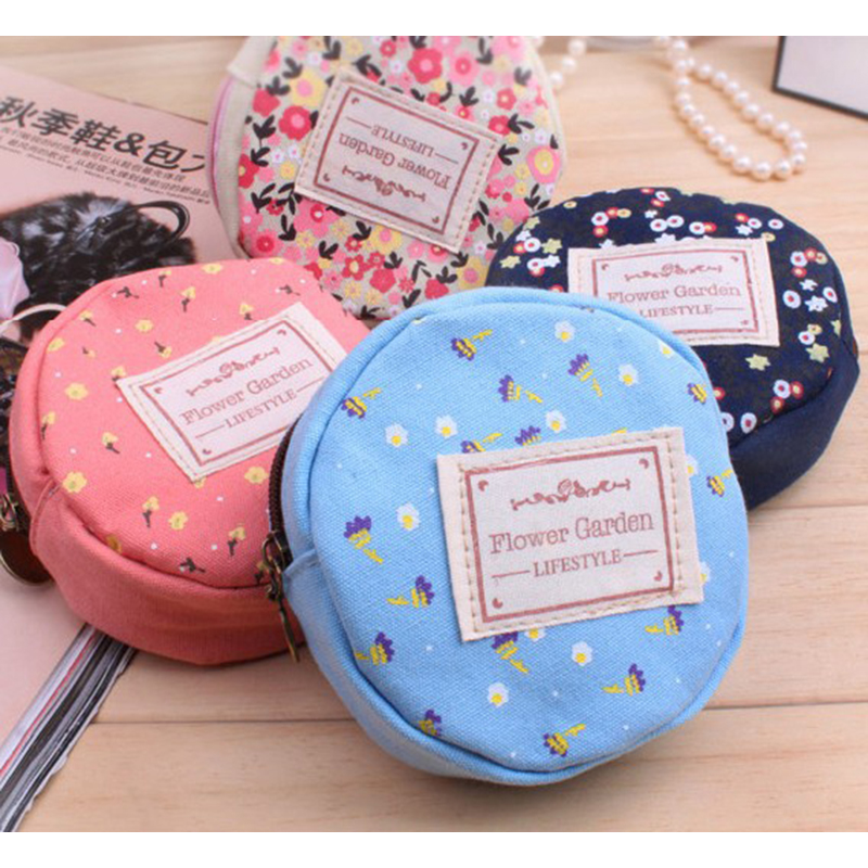 XZP Coin Purse Women Fresh Floral Coin Wallet Zipper Bag Change Pouch Key Holder Small Mini Storage Case Pouch Money Bags Gift in Coin Purses from Luggage Bags
