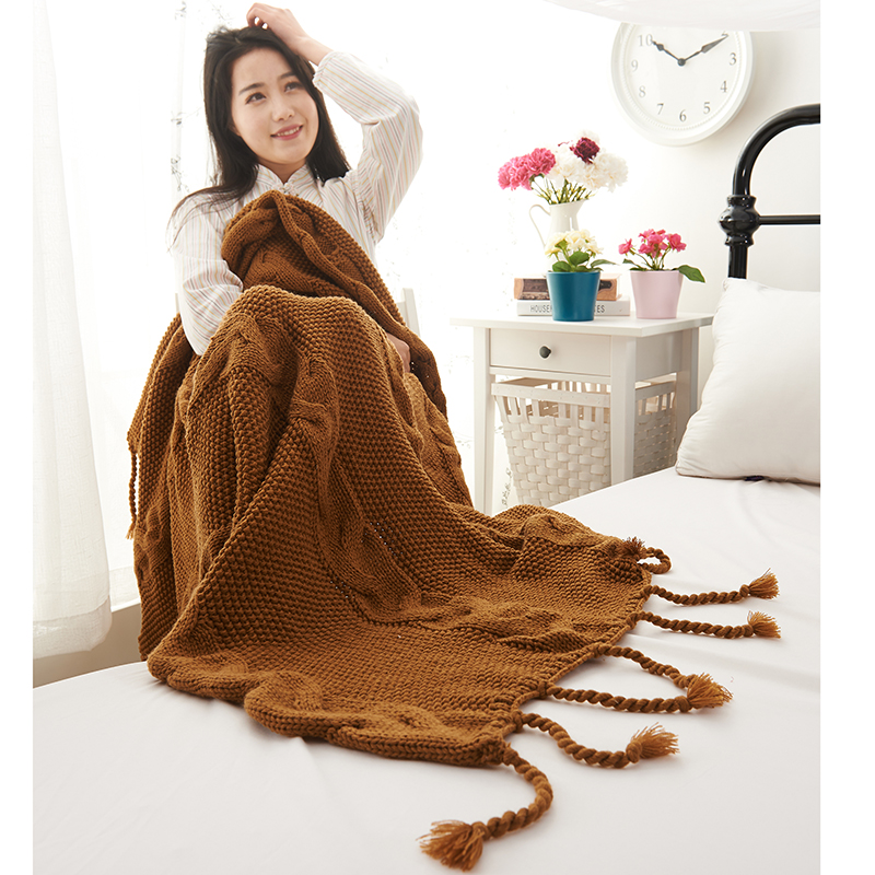 100% Cotton Knitted Thread Blanket With Tassel Handmade Warm Sofa/Bed Cover Slipcover Quilt Carpet Throw Cobertor 125*170cm100% Cotton Knitted Thread Blanket With Tassel Handmade Warm Sofa/Bed Cover Slipcover Quilt Carpet Throw Cobertor 125*170cm