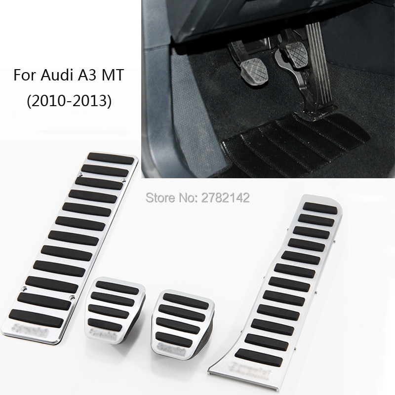 Pedal Cover Fuel Gas Brake Foot Rest Housing No Drilling For Audi A3 MT 2010-2013 Car-styling brand new 4pcs aluminium non slip foot rest fuel gas brake pedal cover for audi q5 mt 2010 2016