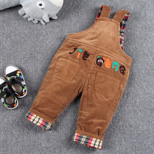 2016 New Cartoon Soft Corduroy Bib Pants Siamese Trousers For Boys Girls Fashion Cashmere Autumn Winter