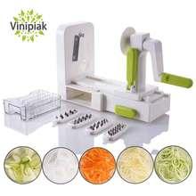 Cortador de verduras plegable de 5 hojas, cortador espiral de verduras, zanahoria, calabacín, Noodler Maker Zoodle