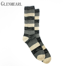 Cotton Crew Men Socks Brand Striped Thick Warm Plus Size Fall Winter Coolmax X65 Casual Business Male Ankle Men Boot Socks 3PK