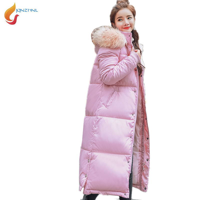 Cotton Clothes Women Medium Long Jacket 2017 New Winter Down Jacket Big fur collar Thick Cotton-padded Coat Plus size WomenAD180 2017 winter new clothes to overcome the coat of women in the long reed rabbit hair fur fur coat fox raccoon fur collar