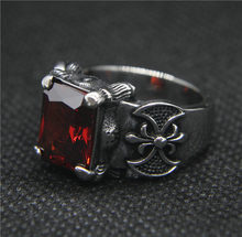Drop Ship 7-13 Cool Silver Red Zircon Anchor แหวน 316L สแตน(China)