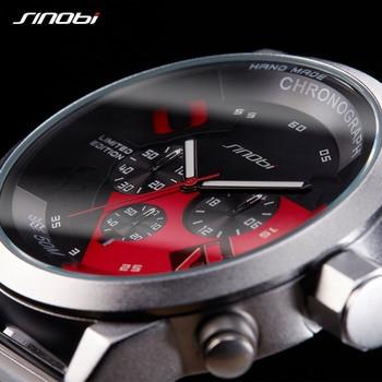 SINOBI Large Dial Design Chronograph Sport Mens Watches Fashion Brand Military Waterproof Quartz Watch Clock Relogio Masculino 5