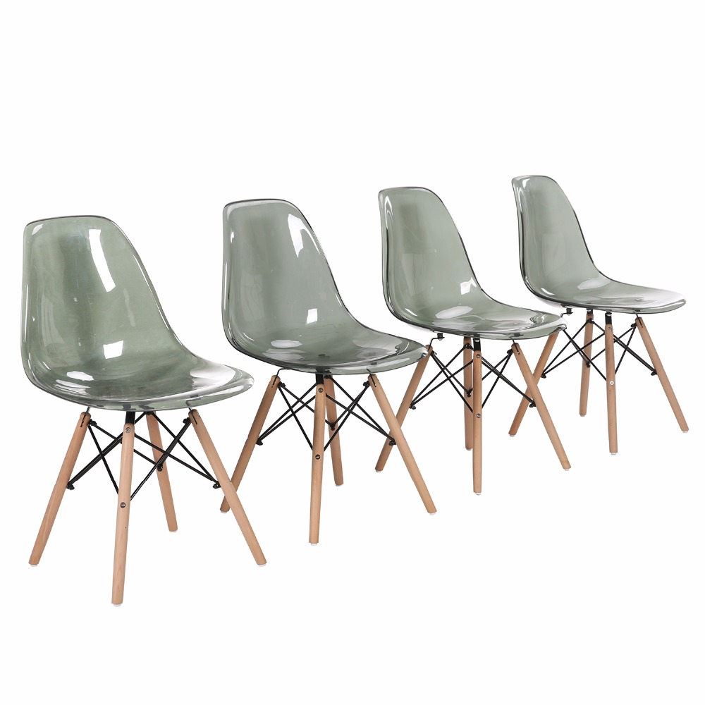 EGGREE Set of 4 Chairs Restore Design With Wood Style Restaurant Chair Black Smoke Grey Transparent EGGREE Set of 4 Chairs Restore Design With Wood Style Restaurant Chair Black Smoke Grey Transparent