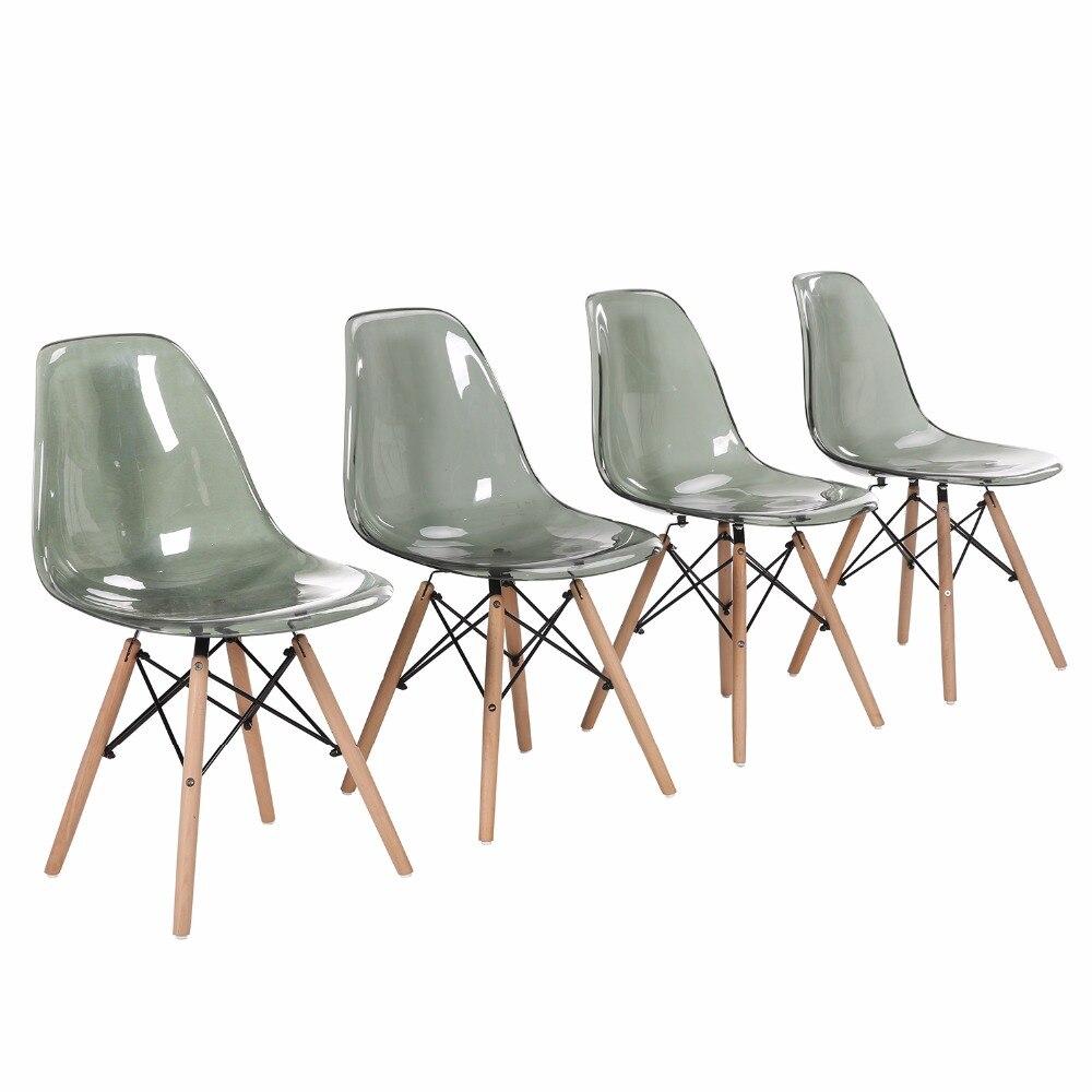 Eggree conjunto de 4 pces moderno jantar cadeira lateral para restaurante, sala de jantar e quarto-fumaça transparente-2-8days armazém da ue