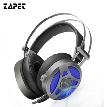 Cheapest ZAPET Computer Headphones Wired Gaming Headset Headphones Deep Bass Game Earphone with Microphone LED light