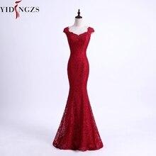YIDINGZS элегантное кружевное длинное вечернее платье с бусинами и русалочкой простое бордовое вечернее платье формальное платье