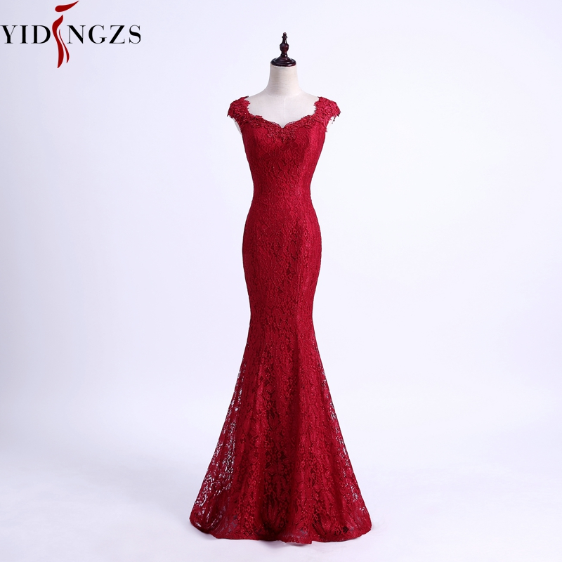 YIDINGZS elegantes cuentas de encaje sirena largo vestido de noche 2019 Simple Borgoña vestidos de fiesta de noche