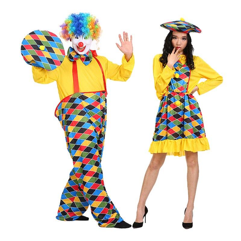 Adult Cirus Clown Costume Halloween Carnival Party Mens Fancy Dress Gift Favor