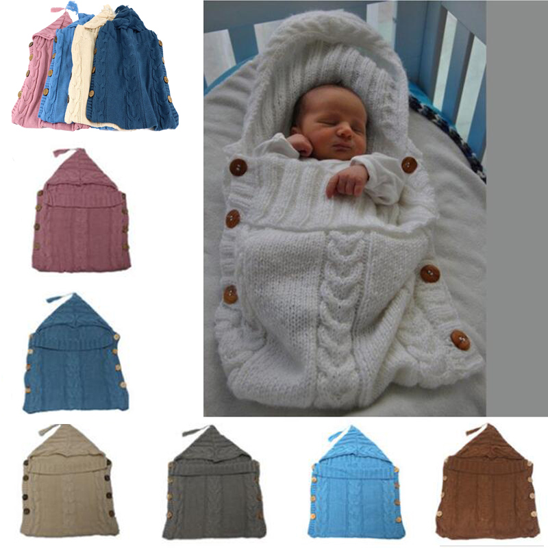 43cc77317 Baby Swaddle Wrap Warm Wool Crochet Knitted Newborn Infant Sleeping ...