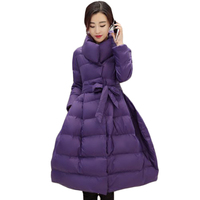 Hot Sale Winter Women Coat European Style Female Jackets Parkas Overcoat 2017 New Designs Flare A line Outerwear with Belt XH457