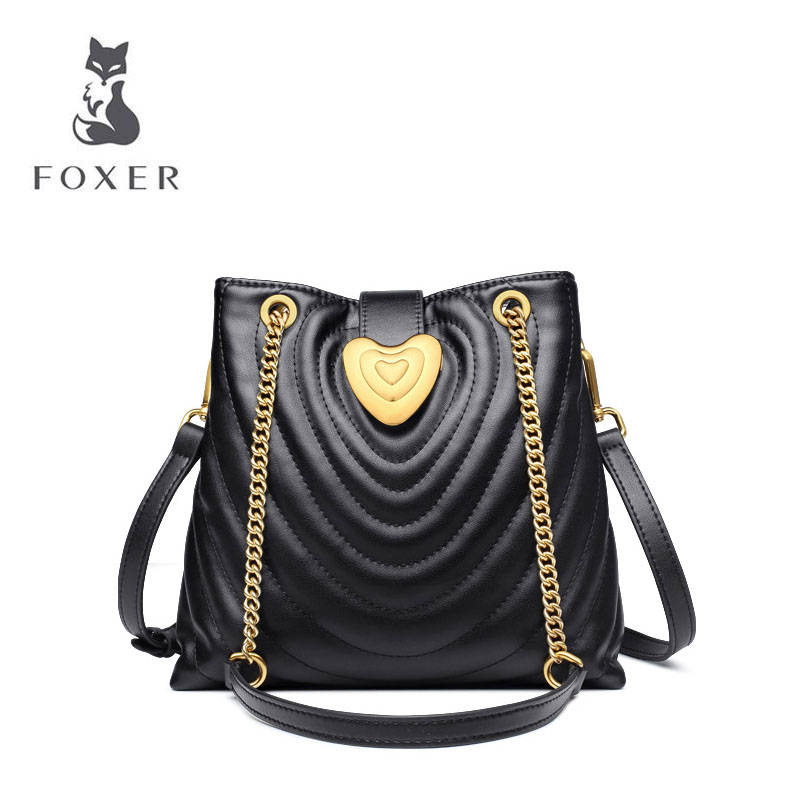 FOXER 2019 New women leather bag luxury handbags designer bag leather bag fashion Chain Lingge women leather shoulder bag