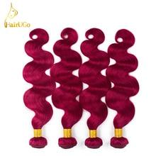 HairUGo Hair Pre colored 4 Bundles Brazilian Hair Extensions bug Color Body Wave Non Remy Human