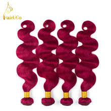 HairUGo Hair Pre-colored 4 Bundles Brazilian Hair Extensions bug Color Body Wave Non Remy Human Hair 8-26Inch