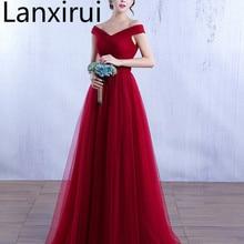 Elegant Off The Shoulder Tulle Dress V Neck Bodycon Wedding Party Burgundy /Red /Pink Evening Maxi Vestidos