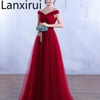 Elegant Off The Shoulder Tulle Dress V Neck Bodycon Wedding Party Dress Burgundy /Red /Pink Evening Party Maxi Dress Vestidos