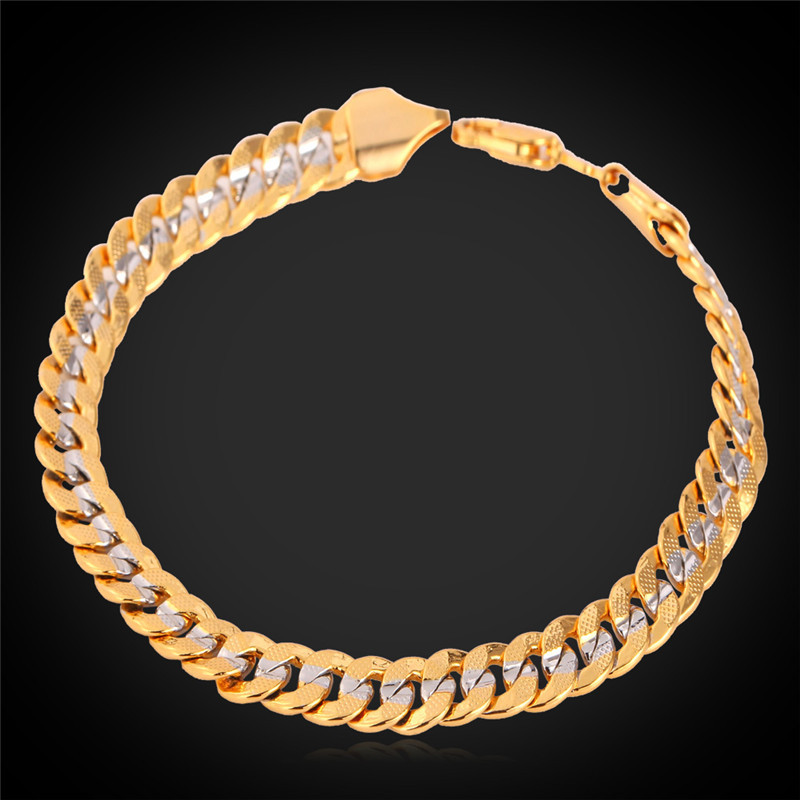 Us 4 98 50 Off Kpop Charm Bracelet Two Tone Jewelry Fashion Style High Quality Gold Color Women Men Bracelets H077 In Chain Link From