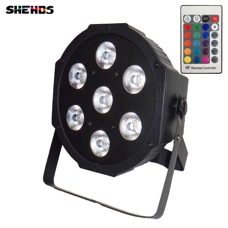 все цены на 2pcs/lot Wireless remote control Super Bright LED Par RGB SlimPar Tri 7 LED Stage Wash Lighting for Wedding Concert Parties DJ