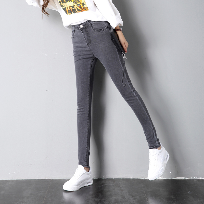 Jeans women's stretch Korean version of the feet tights nine points trousers