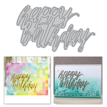 Eastshape Happy Birthday Letter Metal Cutting Dies and Clear Stamps Word Scrapbooking Die Cuts Card Making Stencil Craft Stitch
