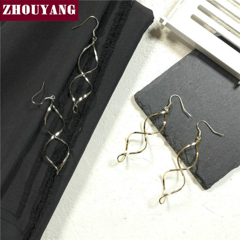 Drop Earrings For Women Silver Color / Gold Color Spiral Simple Style Fashion Jewelry Earings KA015 KA016