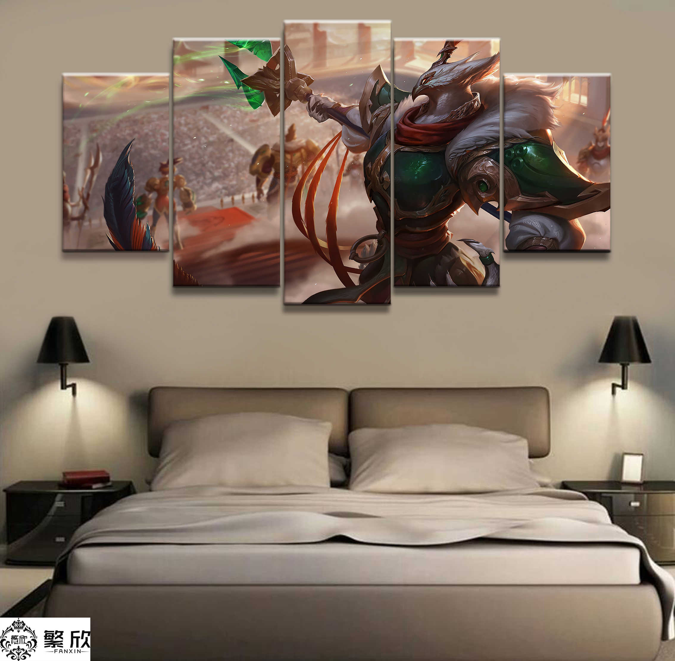 5 Panel LOL League of Legends Azir  Game Canvas Printed Painting For Living Room Wall Art Decor HD Picture Artworks Poster