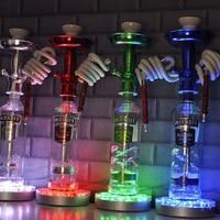 Nowe Szkło Shisha Szisza wazon Podstawa Światła LED Zasilana Baterią, doprowadziły światło z pilotem wielu kolorach
