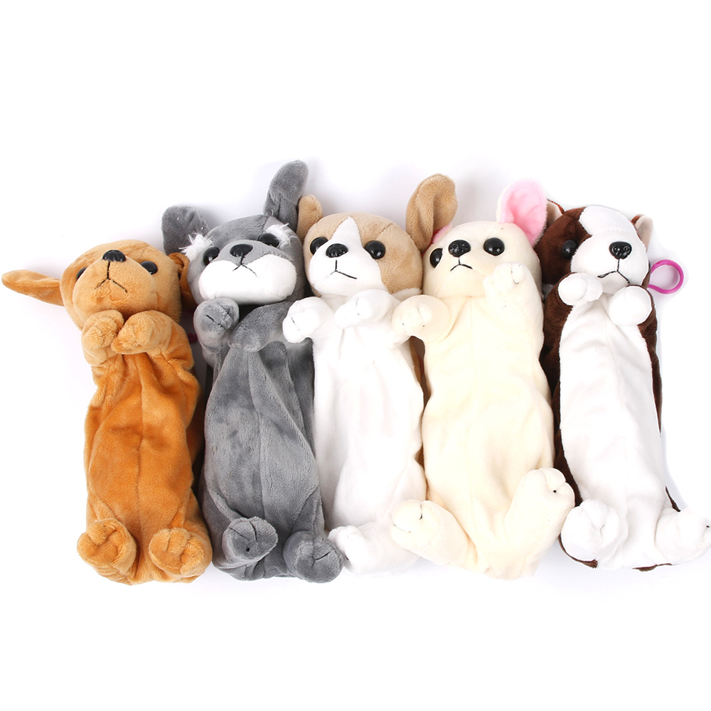 1PCS New Kawaii Cartoon Plush Dog Puppy Pencil Case Cute Animal Pen Bag School Kids Gift