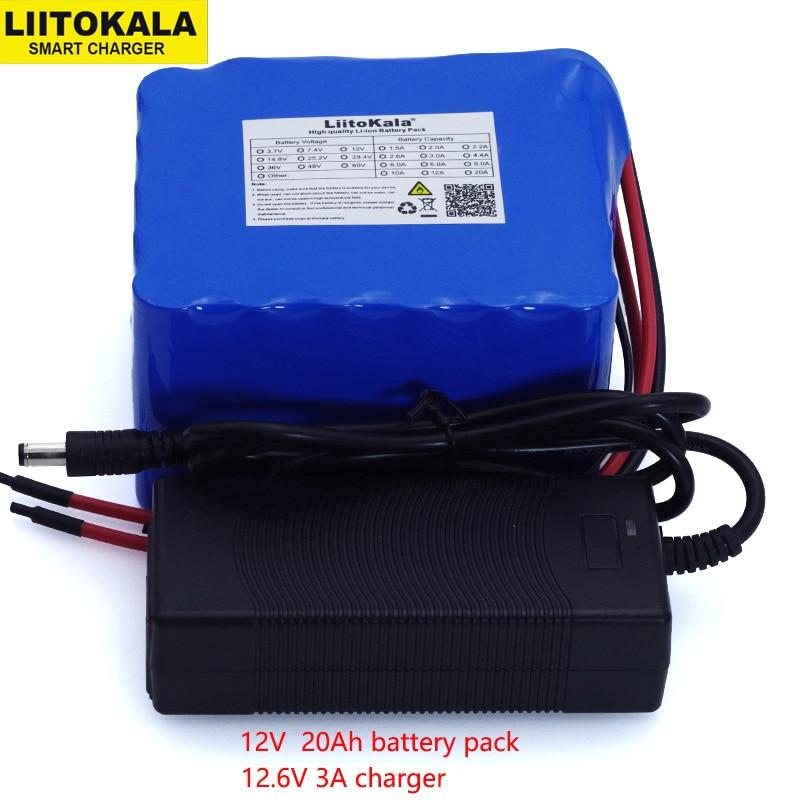 LiitoKala 12 v 20Ah 100A 4 proteção BMS descarga da bateria de alta potência de saída de linha 500 w 800 w 18650 carregador de bateria + 12.6 v 3A