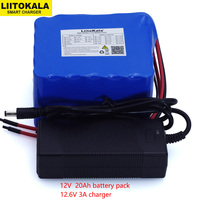 LiitoKala 12V 20Ah high power 100A discharge battery pack BMS protection 4 line output 500W 800W 18650 battery+ 12.6V 3A Charger