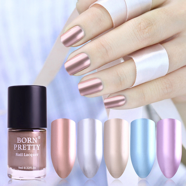 BORN PRETTY 9ml Shinny Metallic Nail Lacquer Mirror Effect Gorgeous Metal Nail Polish Varnish 5 Colors