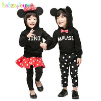 Autumn Winter Thicken Kidswear Cartoon Mouse Hooded Baby Boys Clothes Child Tracksuit Toddler Girls Costume Kids Outfit BC1364