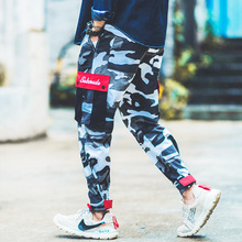 Fashion Camouflage Jogger Pants Men Loose Fit Military Trousers Homme Elastic Waist Drawstring Big Pocket Hip Hop Cargo Pants drawstring camouflage beam feet jogger pants