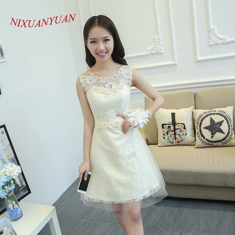 NIXUANYUAN Real Photo Champagne Lace   Cocktail     Dresses   2017 Short Imported Party   Dress   Appliques Beaded vestidos de   cocktail