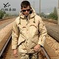 Chaqueta de algodón acolchado camo, ver5 m65 camuflaje trench de algodón medio largo a prueba de viento militar para hombre