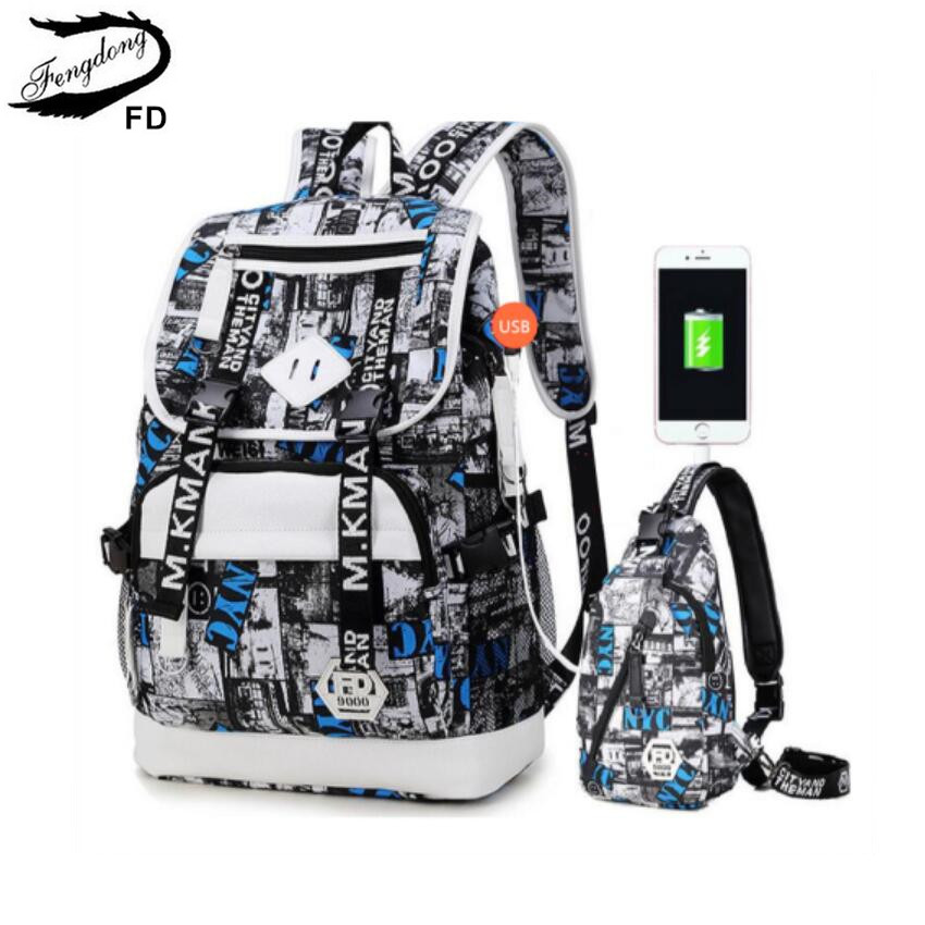 FengDong Men USB port Backpack waterproof male chest bag set College bags one shoulder travel backpack high School Bags for boys fengdong brand female laptop backpack women travel bags high school backpack for girls black and white waterproof chest bag set
