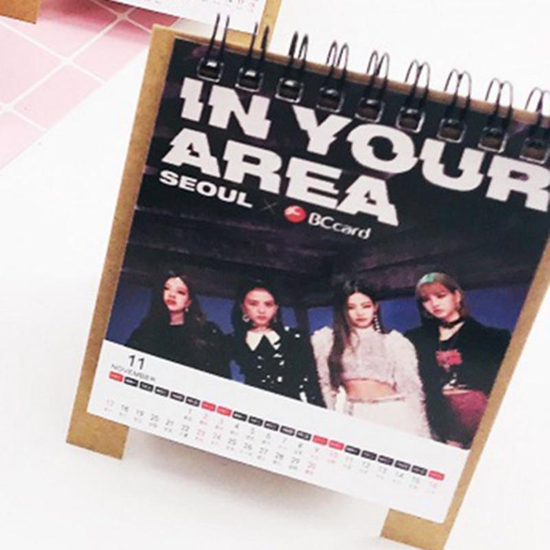 Kalender K-pop Blackpink 2019 Mini Desktop Kalender Mädchen Foto Bild Papier Tisch Kalender Fans Sammlung Geschenk Attraktive Mode