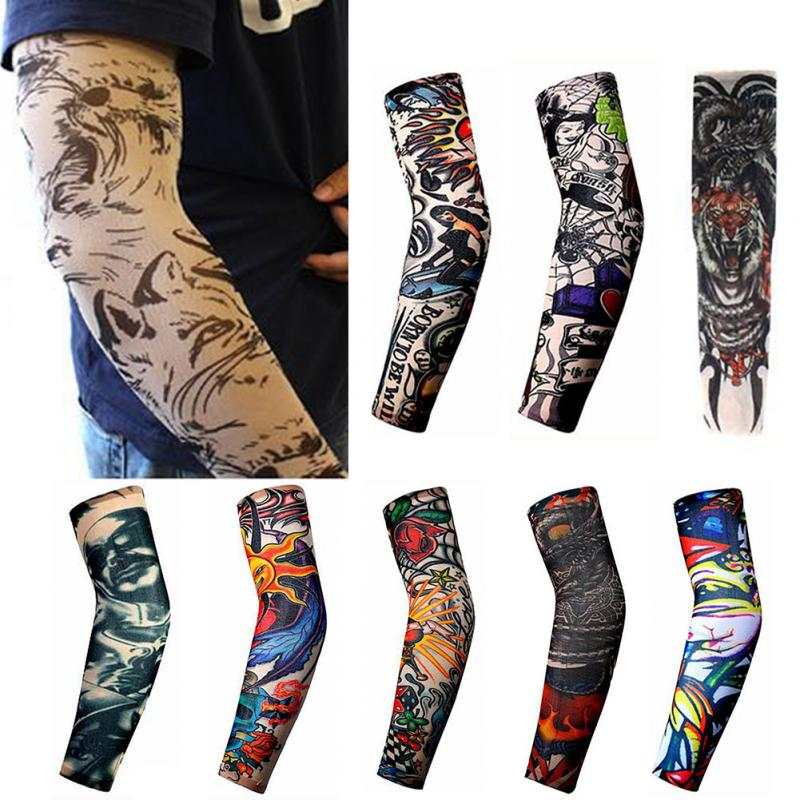 1Pcs Trendy Men Women New High Elastic Fake Temporary Tattoo Sleeve Designs Summer Sunscreen Body Arm Warmers