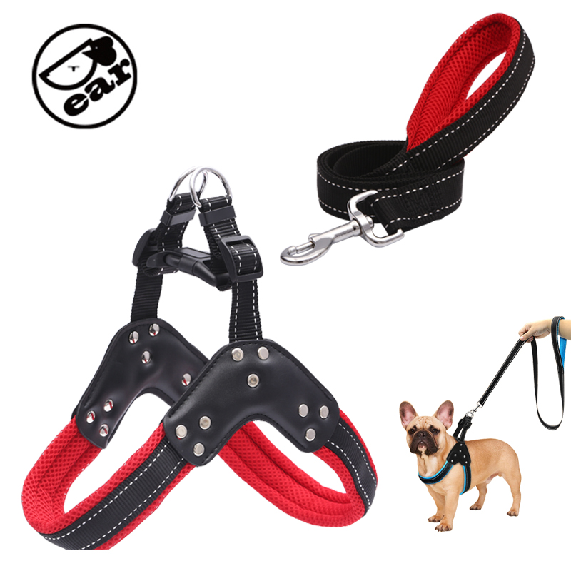 Nylon Dog Harnesses Step in Soft Mesh Padded Small Dog Puppy Harness Leash Set Safety For Walking S M L