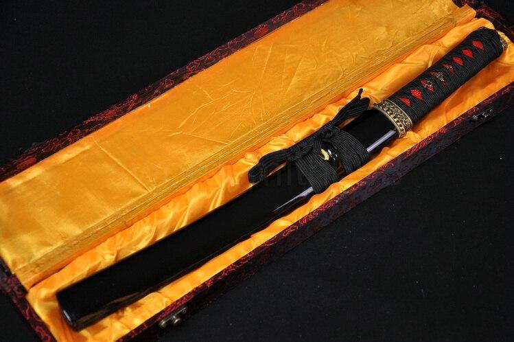 1095 Acier à Haut Carbone Clay Trempé Japonais Samurai Sword TANTO Pleine Saveur Lame En Laiton Tsuba Hanbon Forge Très Sharp Personnalisé