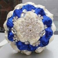 높은 품질 신부 로얄 블루 크림 새틴 꽃 웨딩 꽃다발 다이아몬드 브로치 들고 꽃 많은 색상 W236-1