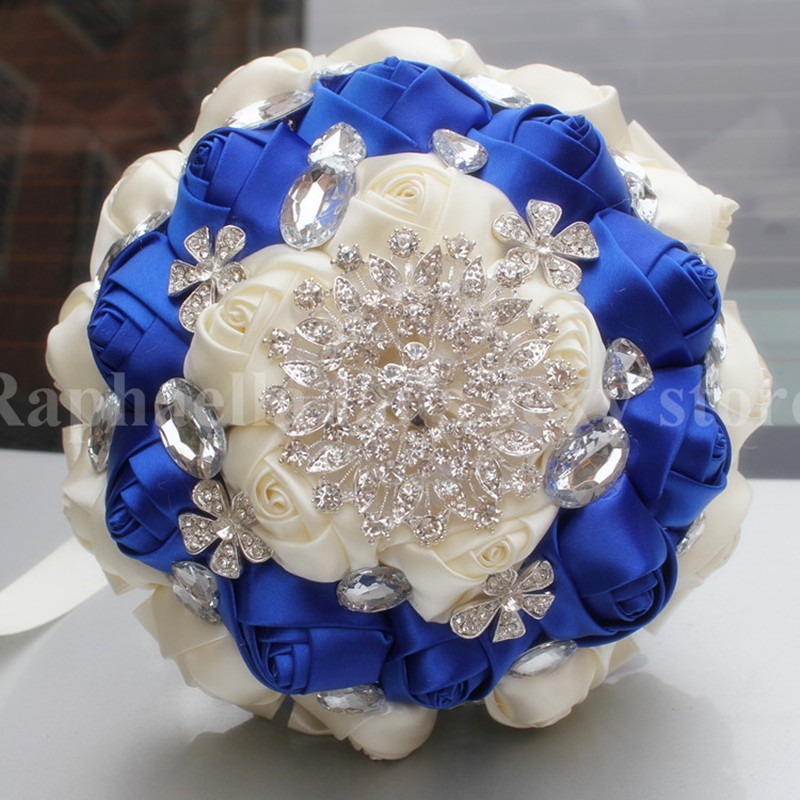 Wedding Bouquets With Blue Flowers: High Quality Bridal Royal Blue Cream Satin Flowers Wedding